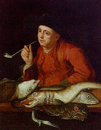 a man in a red coat and waistcoat smoking a pipe, fish on a ledge before him by balthasar nebot