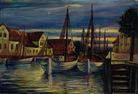 view of moored fishing boats in a harbour by ernst honigberger