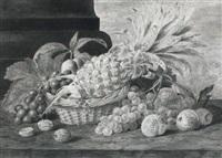 still life of fruit in a basket by james (sillet) sillett