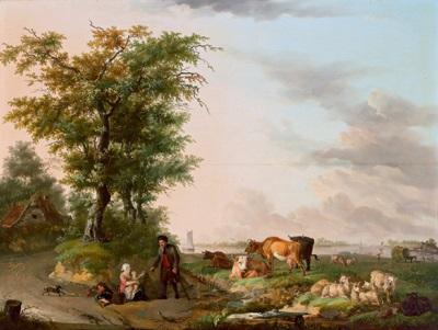 niederländische weidelandschaft mit einem wasserlauf und hirten mit herde by jan hendrick van den bosch