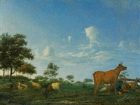 a cow, sheep and goats in a meadow with a shepherd asleep by adriaen van de velde