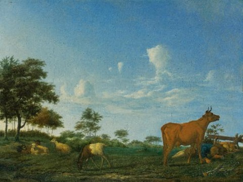 a cow sheep and goats in a meadow with a shepherd asleep by adriaen van de velde