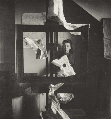 woman mary ryan with easel and paper strips by peter rose pulham