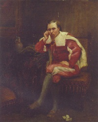 a cavalier in an interior by john brown abercromby