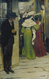 well-wishers seeing off woman at train, older man waiting off to side by william hurd lawrence