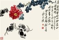 菊蟹图 镜心 设色纸本 by qi liangchi