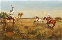 indian boar hunting scenes (set of four) by thomas ivester lloyd