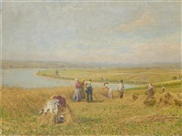 harvesters at work with an extensive river landscape beyond by stefan simony