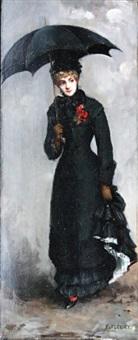 femme en noir au bouquet rouge by fanny laurent fleury