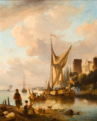 ice skating on the canal (+ sailboats entering harbor; pair) by jean (jan) michael ruyten