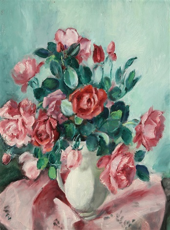vase of pink and red vases by martha walter