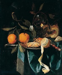 a still life of oranges, a wine glass, cherries, bread and tobacco with crabs, a knife and a peeled lemon on a pewter plate, all on a marble ledge by harmen loeding