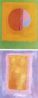 green field on pink (+ orange field on purple, no.2, lrgr; 2 works) by rex ashlock