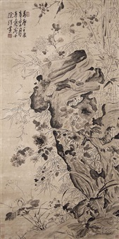 花卉戲墨圖 xu wei ming dynasty ink flowers and rock by xu wei