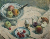 still life with apple compote and saucer of cherries by prosper rotge