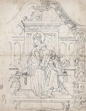 maria mit dem jesuskind auf dem thron by hans holbein the younger