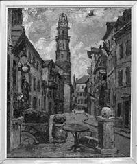 14 juillet 1946, bagnères de bigorre, vaches à l'étable (recto-verso) et tête de personnage (3 works) by maurice vagh-weinmann