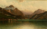 mountain lake scene by george w. waters