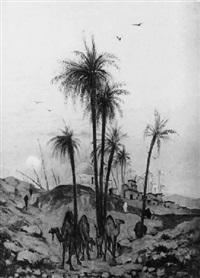 dromadaires à l'entrée de la palmeraie au clair de lune by léon adolphe legendre