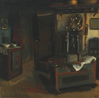 rustic style interior with a cradle and an oven by valdemar kornerup