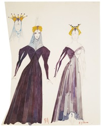 costume designs for canterbury prologue by edward burra