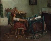 singende mutter, die ihr kind in den schlaf wiegt by lajos koloszvary