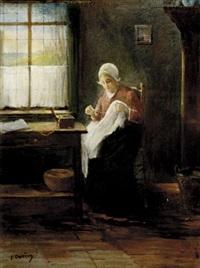 dutch woman sewing by paul doering