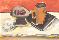 still life with fruits, book and coffee cup by ion pacea