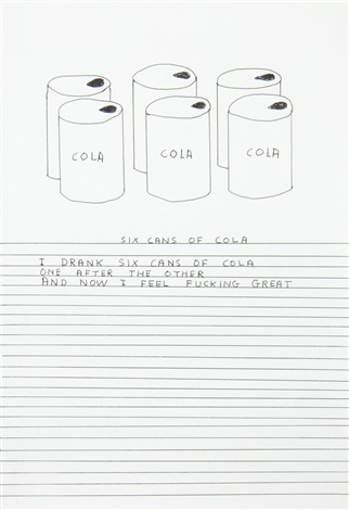 untitled six cans of colatogether with a greetings card on which the work is illustrated by david shrigley