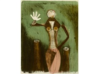 mujer en lila (from mujeres suite) by rufino tamayo