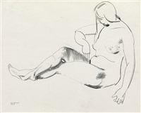 nude with hexagonal quilt by george wesley bellows