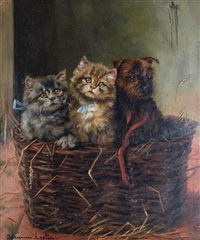 a christmas hamper - two kittens and a puppy by adrienne lester