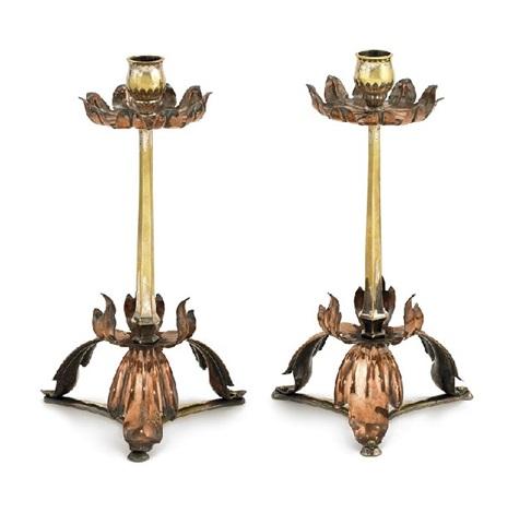 candlesticks pair by william arthur smith benson