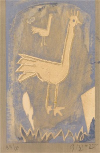le coq (frontispiece for mods and movements in art, vol vii, no. 27-28) by georges braque