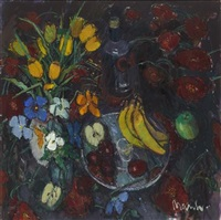 still life with pansies and tulips by donald manson