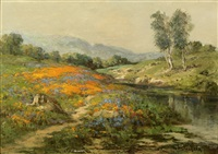 poppies and lupine by a river by william franklin jackson