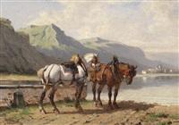 pferde am seeufer by paul van der vin