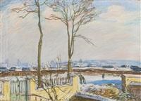 la gare de moret-sur-loing sous la neige by alfred sisley