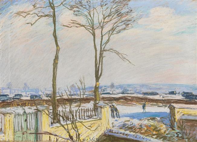 la gare de moret sur loing sous la neige by alfred sisley