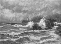 seascape with crashing surf and boats in the distance by otis weber