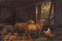ovejas en el establo by julio rodriguez de zorada