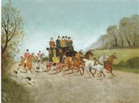huntsmen passing a coach on a road (+ a companion painting; pair) by philip h. rideout