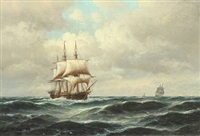 seascape with a frigate by carl ludwig bille