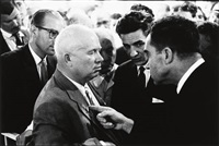 vice pres. richard nixon and soviet union leader nikita khrushchev (the kitchen debate), moscow by elliott erwitt