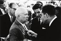 vice pres. richard nixon and soviet union leader nikita khrushchev (the kitchen debate), moscow by elliott erwitt
