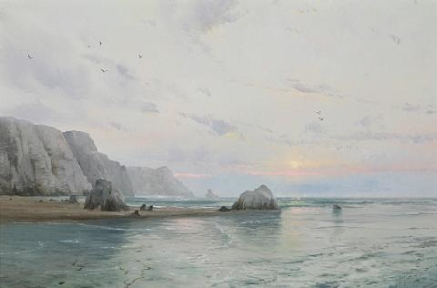 waning day pacific coast by thomas kinkade