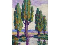 poplars (along a river) by birger sandzen