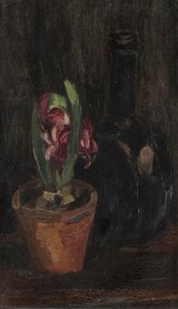 jacinthe et bouteille noire by henri le fauconnier