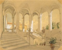 italian staircase by carl (karl) wilhelm götzloff