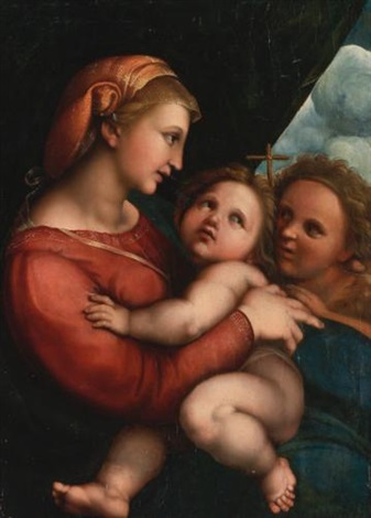 the madonna and child with the infant saint john the baptist the madonna della tenda by raphaël